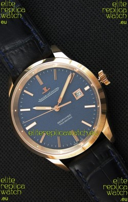 Jaeger LeCoultre Geophysic True Second Pink Gold Swiss Replica Watch Blue Dial