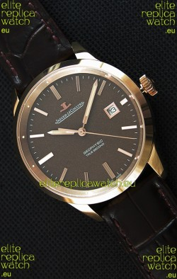 Jaeger LeCoultre Geophysic True Second Pink Gold Swiss Replica Watch Brown Dial
