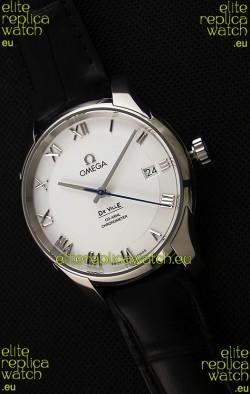 Omega De-Ville Annual Calendar Co-Axial Swiss Replica Watch 1:1 Mirror Edition in White Dial