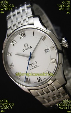 Omega De-Ville Annual Calendar Steel Strap Swiss Replica Watch 1:1 Mirror Edition in White Dial
