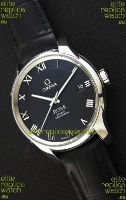 Omega De-Ville Annual Calendar Co-Axial Swiss Replica Watch 1:1 Mirror Edition in Black Dial
