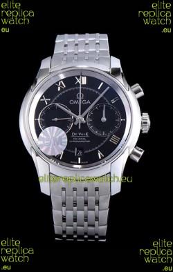 Omega De Ville Chronograph 1:1 Mirror Replica Watch in Black Dial 42MM