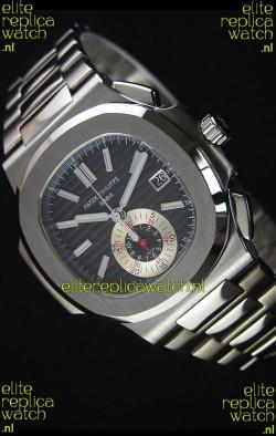 Patek Philippe Nautilus 5980 Chronograph Steel Case in Black Dial - 1:1 Mirror Replica