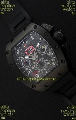 Richard Mille RM011-FM Felipe Massa Black Ceramic Case Watch in Black Strap