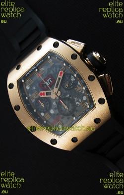 Richard Mille RM011-FM Felipe Massa Pink Gold Plated Titanium Case Watch in Black Strap