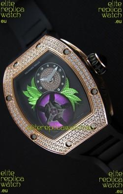 Richard Mille 19-02 Tourbillon Fleur Swiss Replica Watch in Pink Gold