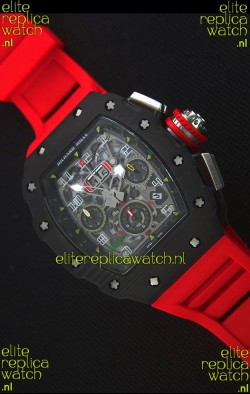 Richard Mille RM011-03 One Piece Black Forged Carbon Case Watch in Red Strap