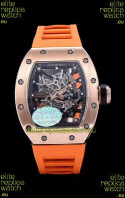 Richard Mille RM035 AMERICAS 18K Rose Gold Replica Watch in Orange Strap
