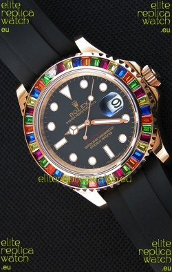 Rolex Yachtmaster 116695 Everose Gold Diamonds  1:1 Ultimate Mirror Replica Watch