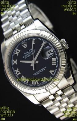 Rolex Datejust 36MM Cal.3135 Movement Swiss Replica Black Dial Jubilee Strap - Ultimate 904L Steel Watch