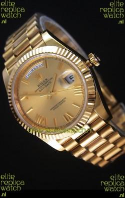 Rolex Day-Date 40MM Replica Watch in Gold Dial Roman Numerals Cal.3255 Swiss Movement