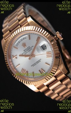 Rolex Day-Date 40MM Rose Gold in Silver Dial Roman Numerals Swiss Watch