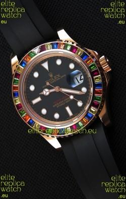 Rolex Yachtmaster 116695 Everose Gold Diamonds Cal.3135 Swiss 1:1 Ultimate 904L Steel Watch