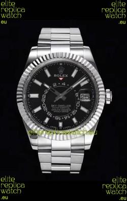 Rolex Sky-Dweller REF# 326934 Black Dial Watch in 904L Steel Case 1:1 Mirror Replica