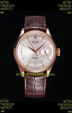 Rolex Cellini Date Ref#50515 Replica 1:1 Mirror Rose Gold 904L Steel Watch White Dial
