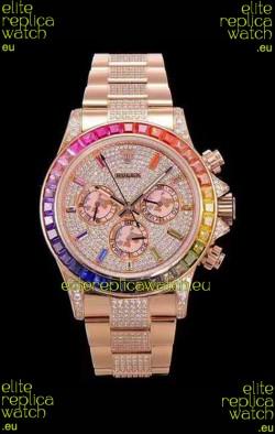 Rolex Daytona ICED OUT Rose Gold Watch Original Cal.4130 Movement - 1:1 Mirror 904L Steel Watch