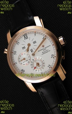 Vacheron Constantin Malte Dual Time Regulator Pink Gold Swiss Replica Watch
