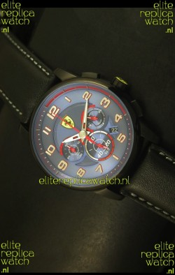 Scuderia Ferrari Heritage Chronograph Watch in Blue Dial Black Steel Case