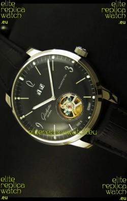 Glashuette Tourbillon Japanese Replica Watch in Black Dial