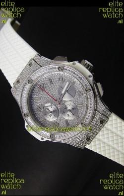 Hublot Big Bang Rose Stainless Steel Watch Quartz Movement in White Strap