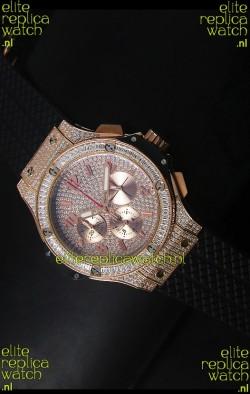Hublot Big Bang Rose Gold Watch Quartz Movement in Black Strap