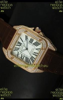 Cartier Santos 100 1:1 Mirror Replica Rose Gold Diamonds Watch 42MM