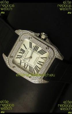 Cartier Santos 100 1:1 Mirror Replica Steel Diamonds Watch Mens Size 42MM