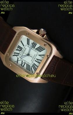 Cartier Santos 100 1:1 Mirror Replica Rose Gold Watch 42MM