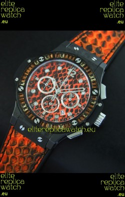 Hublot Big Bang 34MM Ladies Watch in Quartz Movement - Orange Dial/Strap