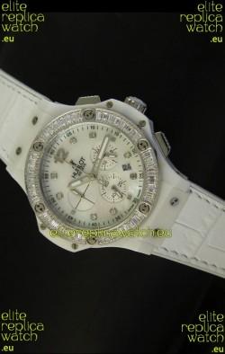 Hublot Big Bang 34MM Ladies Watch in Quartz Movement - White Dial/Strap