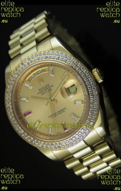 Rolex Day Date II 41MM Swiss Replica Watch - Gold Dial - 1:1 Mirror Replica Watch