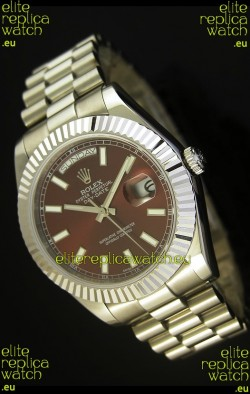 Rolex Day Date II 41MM Swiss Replica Watch - Brown Dial - 1:1 Mirror Replica Watch