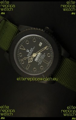 Rolex Submariner STEALTH MK IV Edition Swiss Replica Watch in Green Strap