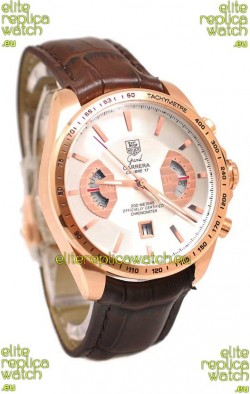 Tag Heuer Grand Carrera Japanese Replica Gold Watch in White Dial