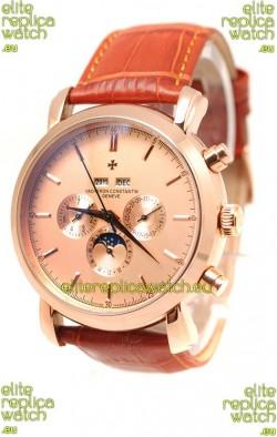 Vacheron Constantin Malte Perpetual Chronograph Japanese Replica Watch in Brown Strap