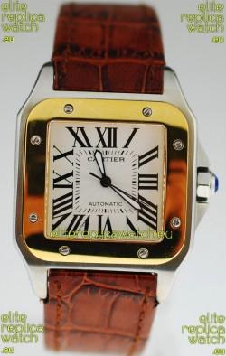 Cartier Santos 100 Swiss Replica Two Tone Watch