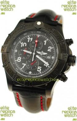Breitling Chronograph Chronometre Japanese Replica PVD Watch in Black Strap