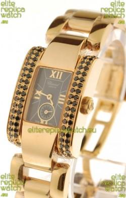 Chopard La Strada Swiss Ladies Replica Pink Gold Watch in Black Dial