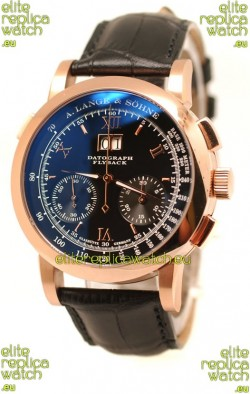 A. Lange & Sohne Datograph Flyback Swiss Replica Rose Gold Watch in Black Dial