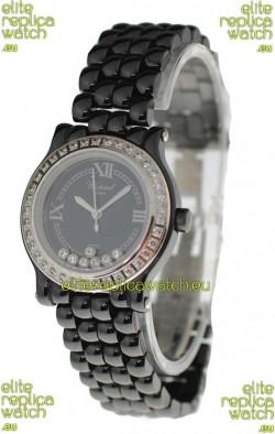 Chopard Happy Sport Ladies Japanese Black Ceramic Watch