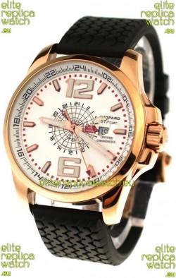 Chopard 1000 Miglia GT XL GMT Japanese Replica Gold Watch in White Dial