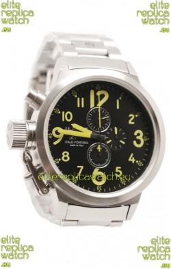 U-Boat Flightdeck Japanese Replica Steel Watch in Green Markers