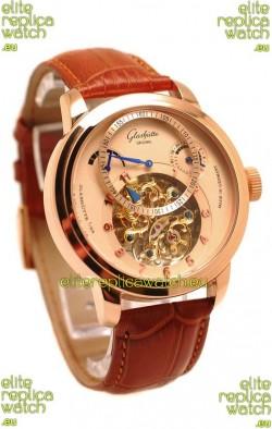 Glashutte Panaomatic Regulator Tourbillon Japanese Replica Pink Gold Watch