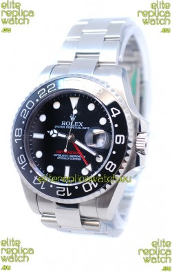 Rolex GMT Masters II 2011 Edition Swiss Replica Watch in Black Cerarmic Bezel