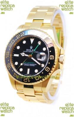 Rolex GMT Masters II 2011 Edition Swiss Replica Gold Watch in Black Cerarmic Bezel