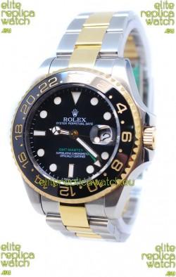 Rolex GMT Masters II 2011 Edition Swiss Replica Two Tone Watch in Black Cerarmic Bezel