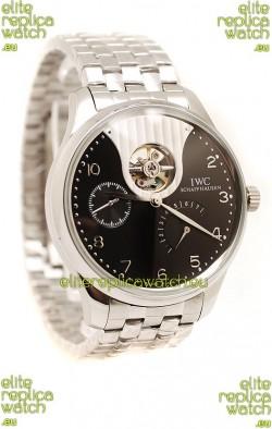 IWC Portuguese Tourbillon Mystere Replica Watch in Black Dial