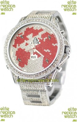 Jacob & Co Diamond Japanese Replica Watch in Red/White Dial
