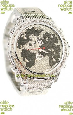 Jacob & Co Diamond Japanese Replica Watch in Black/White Diamond Dial