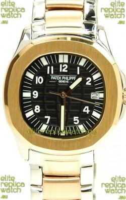 Patek Philippe Aquanaut Two Tone Ladies Gold Watch in Black Dial
